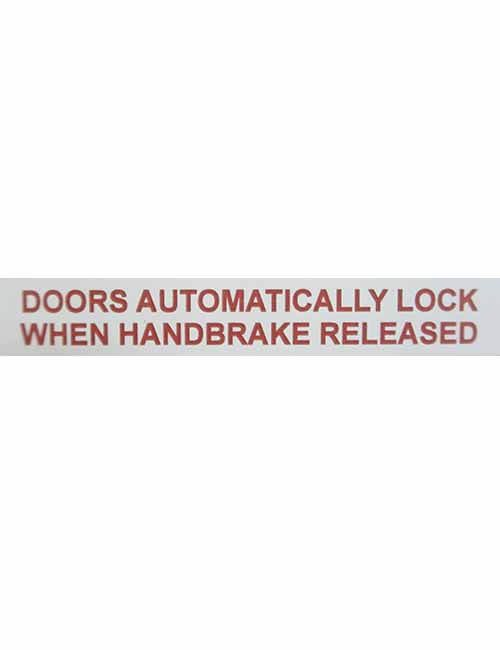 Door Automatically Lock when handbrake released decal
