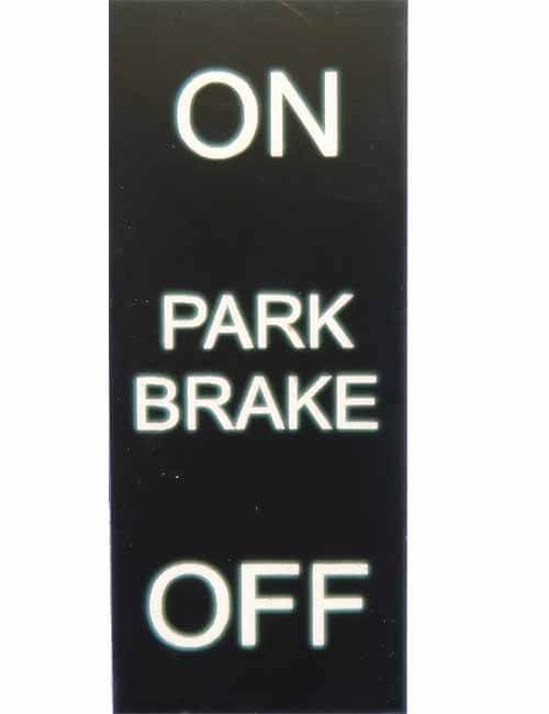 On Off Park Brake decal