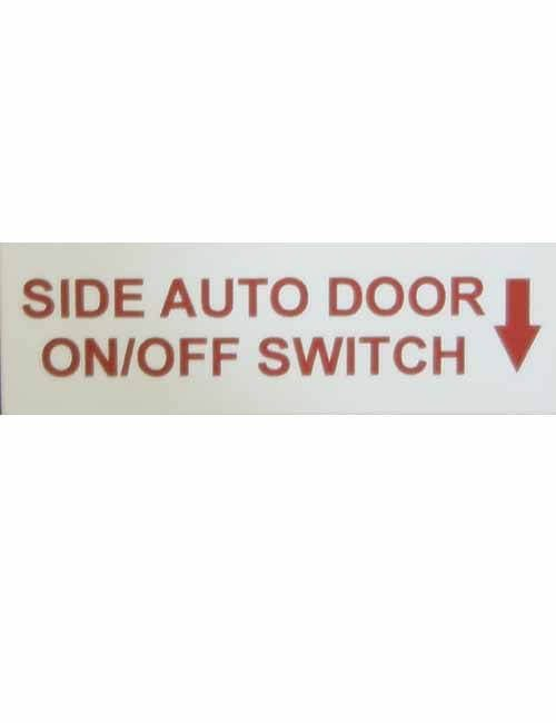 Side Auto Door on off switch decal