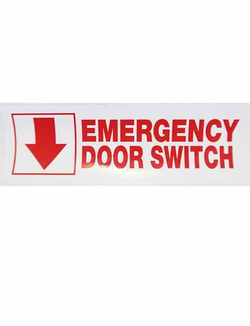 emergency door switch decal